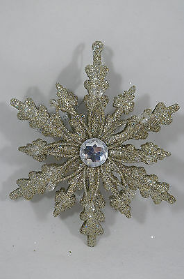 Platinum Glittered Snowflake with Jewel Christmas Tree Ornament new holiday
