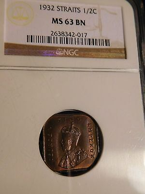 British Straits Settlements 1932 1/2 Cent NGC MS-63 Brown