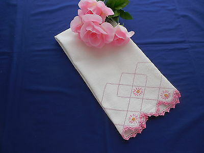 Vintage White Huck Towel with Pink Embroidery & Crochet