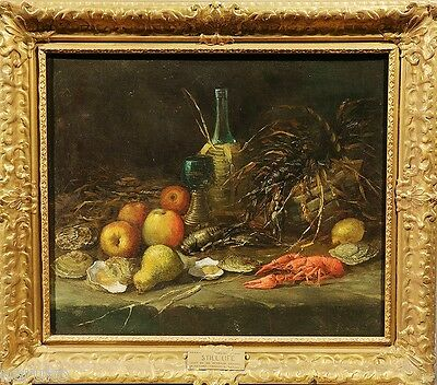 ANTOINE VOLLON from VIRGINIA MUSEUM of FINE ARTS 19thC O/C STILL LIFE w SEAFOOD