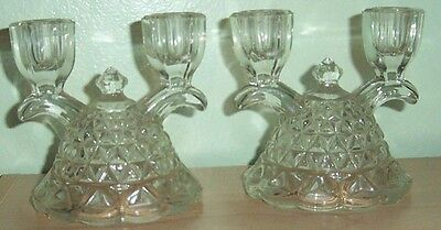 Vintage SET 2 IMPERIAL Glass LACED EDGE Double CANDLESTICK Holder Mt VERNON Katy