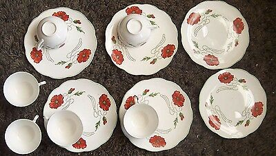 Vintage SET 6 Edwin KNOWLES Semi Vitrous CHINA Snack LUNCHEON Cup & PLATE 12 pc