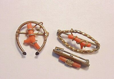 Victorian Gold Filled Genuine Coral Pin Brooch Lot 3 Pieces Estate Find