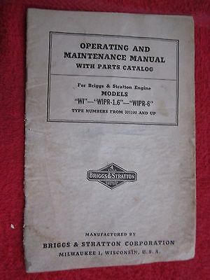 1940's BRIGGS & STRATTON WI & WIPR ENGINE OPERATORS MAINTENANCE PARTS MANUAL