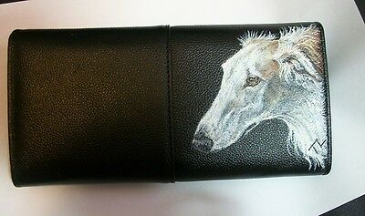 Hand Painted Borzoi/Russian Wolfhound Women RFID Blocking Wallet  Leather Clutch