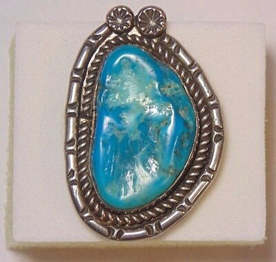VINTAGE Navajo NATIVE AMERICAN Sterling Silver TURQUOISE Nugget STAMP WORK Ring
