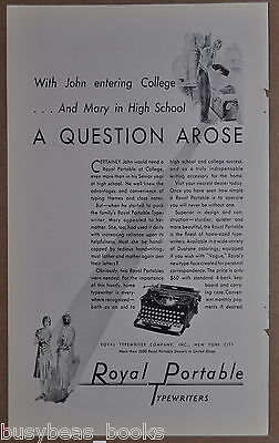 1930 ROYAL portable Typewriter advertisement, portable model for school