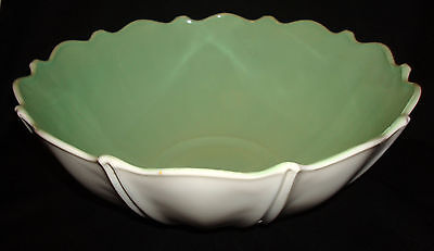 """Vintage Anchor Hocking Oyster & Pearl Green White Fired On 10 ½"""" Console Bowl"""