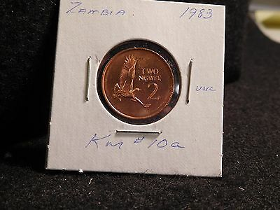ZAMBIA:   1983      2 NGWEE    COIN     (UNC.)    (#3905)  KM # 10a