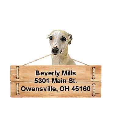 Whippet return address labels die cut to shape of dog and sign