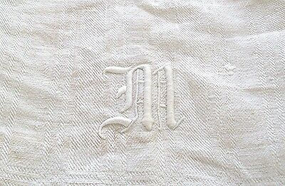Vtg Cream White Stripe Linen Damask Show Towel Monogram 'm' Knotted Fringe