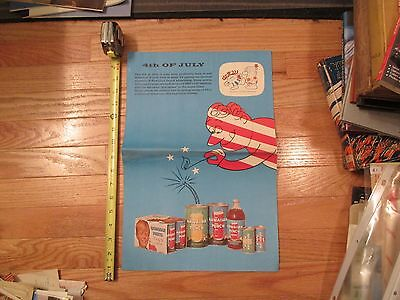 1962 Hawaiian Punch double sided advertising poster flyer 4th July Pretty Girl