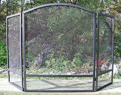 "Modern 3 Fold Arched Steel Fire place Screen 48"" W"