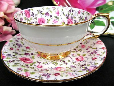 Windsor Tea Cup And Saucer Pretty Chintz Pattern Teacup Rose Pink