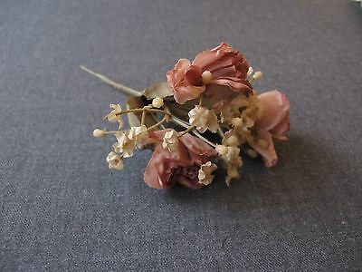 Vintage Fabric Flowers & Leaves With Plastic Stems Bouquet For Millinery