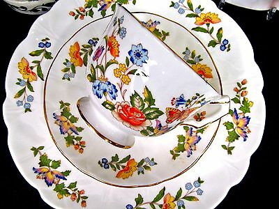 Aynsley Tea Cup And Saucer Crocus Floral & Butterfly Pattern Teacup Trio