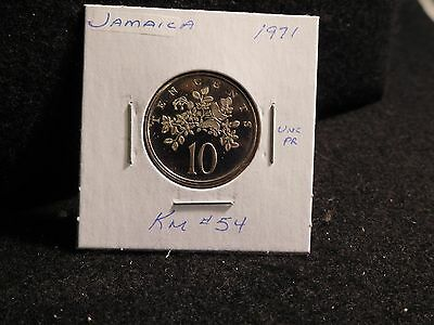 Jamaica:   1971   10 Cents  Coin  Proof  (Unc.)    (#2560)  Km # 54