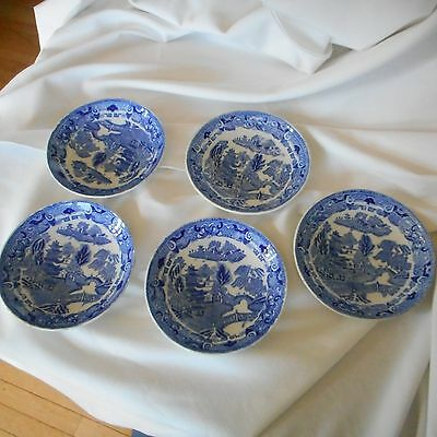 Five Blue Willow small bowls or saucers England Semi China Ridgway (Ai