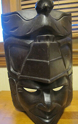 "Unique Hand Carved Solid Concave Wooden Tribal Face Mask South American 10"" high"