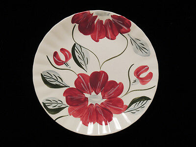 Blue Ridge Southern Potteries Burgundy Floral 8.25 in Plate Vintage