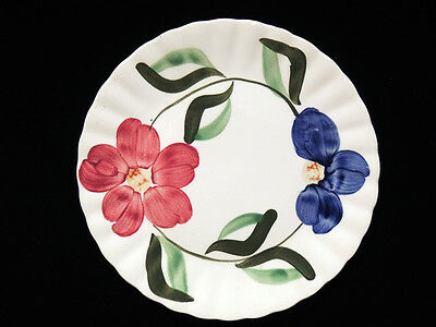 Blue Ridge Southern Potteries Burgundy Blue Floral 9.25 in Plate