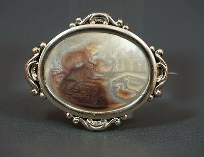 Victorian Cameo 10K Yellow Gold Mop Mother Of Pearl Brooch Boy Dog Lake Scene