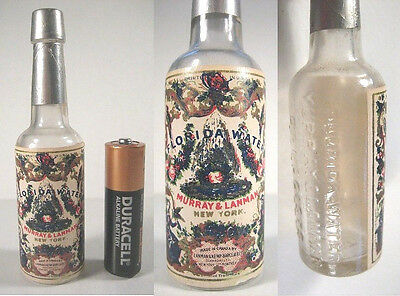 Miniature 1900 Embossed Florida Water Bottle w/Color Litho Label Sample Perfume