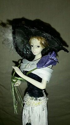 "Victorian Tassel Stick Doll Limited Edition Doll Tammy 15"" Black & White Dress"