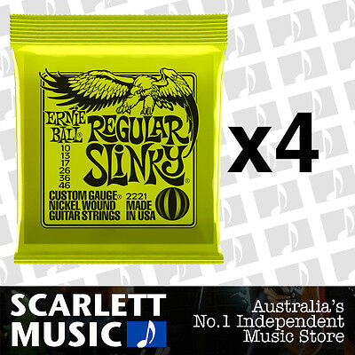 4x Ernie Ball Regular Slinky 10-46 Electric Guitar Strings *SET OF 4 PACKS*