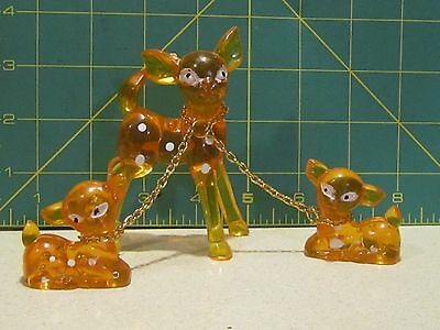 Vintage Mid-Century 1960s Orange-Lucite/Plastic Deer Fawns w Chains. Hong Kong