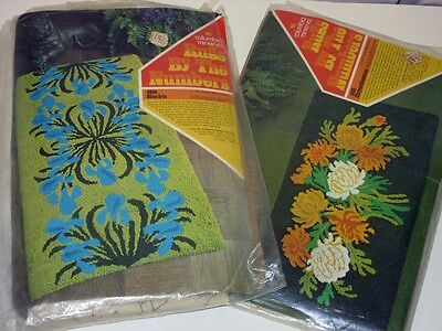 2 Open Vtg Columbia Minerva Hooked Rugs By The Numbers Canvas Only Floral Kits