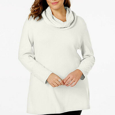 JM COLLECTION $69 NEW Ivory 12597 Long Sleeve Cowl Neck Womens Sweater Top 1X