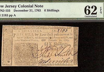 Dec 31, 1763 Colonial Currency New Jersey Note Old Paper Money Pmg Unc 62 Epq