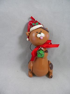 Brown Cat in Santa Hat with Tree Christmas Tree Ornament new holiday