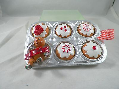 Gingerbread Boy with Cookies in Pan Christmas Tree Ornament new holiday