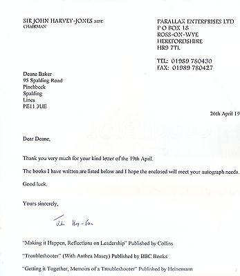 Rare Sir John Harvey-Jones Mbe Signed Typed Letter Chairman Ici Troubleshooter