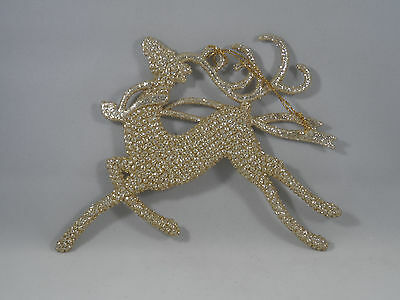 Champagne Gold Glittered Deer Running Christmas Tree Ornament new holiday
