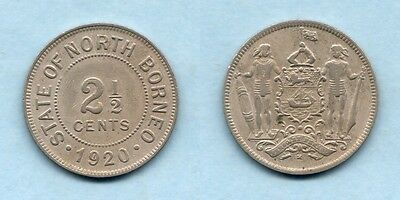 British North Borneo. 1920 2 1/2  Cents... VF