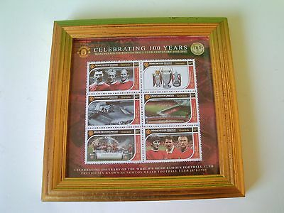 Manchester United Celebrating 100 Years - Set of 6 Genuine mint Stamps - Framed