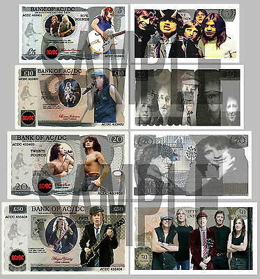 Set Of 4 Ac/dc - Ac Dc Fun Uk Style Notes Double Sided (Shipped From Uk)