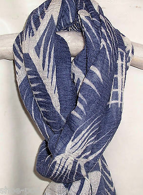New Womens White Blue Scarf Carved Flowers Design Shawl Wrap Ladies