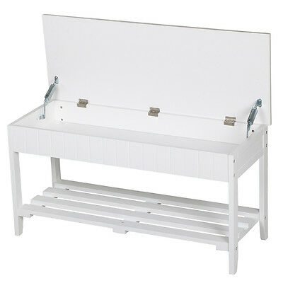 Storage Bench White Wood Hallway Entryway Furniture Bedroom Shoe Rack UK