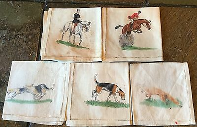Fox Hunt Hunting Set 5 Hand Painted Napkins Huntsman Side Saddle Lady Hounds Fox