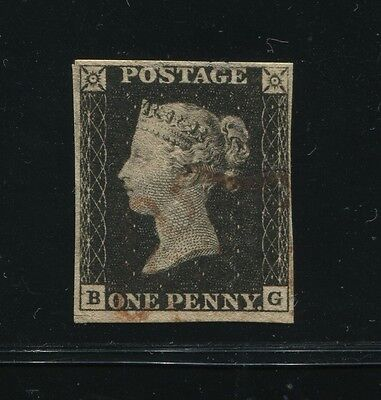 "GREAT BRITAIN 1840 1d BLACK - ""BG"" FINE USED"