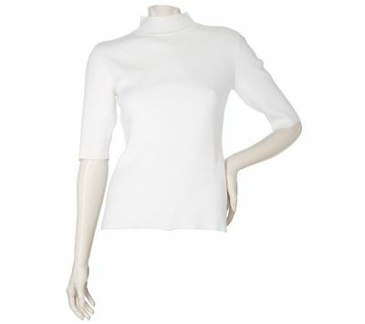 Linea Louis Dell'Olio Mock Neck Fitted Short Slv Sweater White L NEW A87423