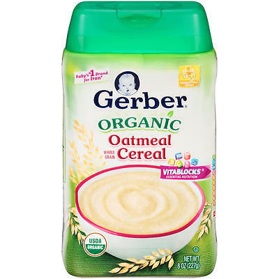 New Gerber Organic Single-Grain Oatmeal Baby Cereal - 8 Ounce Model:15552534