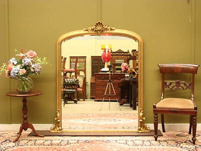 LARGE GILT FRAMED OVER MANTLE MIRROR ~ AGED FINISH - SUIT ANTIQUES.  LATE 20thC