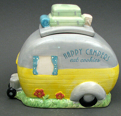 Happy Campers  Ceramic Cookie Jar  CANISTER   Kitchen Decor