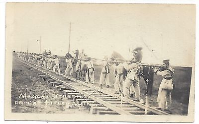 RP Mexico Revolution Federalists on the Firing Line 1910s Postcard