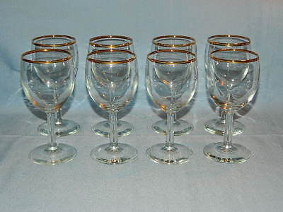 "Set 8 Clear Crystal Gold Trim Glass 6"" Smooth Stem Wine/Water Goblets 7 Oz"
